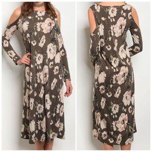 Long sleeve cold shoulder floral print dress